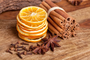 Slices of dried Orange with cinnamon clove and anise